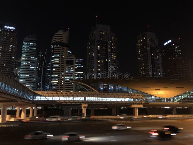 Dubai Metro Station. At night stock images