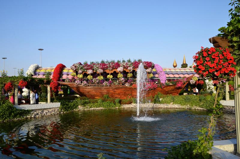 Dubai Miracle Garden in Dubai is a great place for kids and adults with its flowering sculptures stock photos