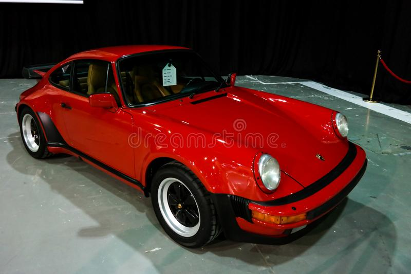 Dubai Motor, Porsche corner displaying their epic new 911 cars _ Turbo S stock photography