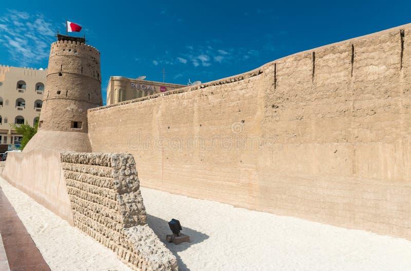 Dubai museum and the historic Al Fahidi Fort royalty free stock image