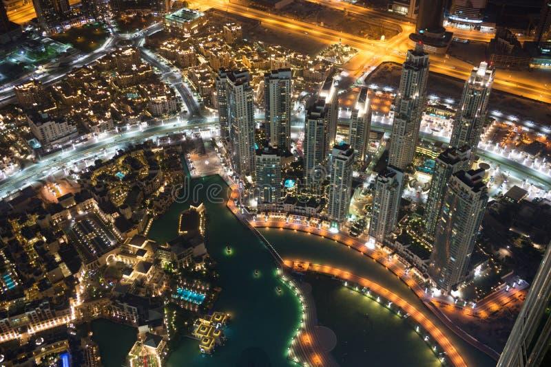 Dubai at night near Khalifa Tower stock photo