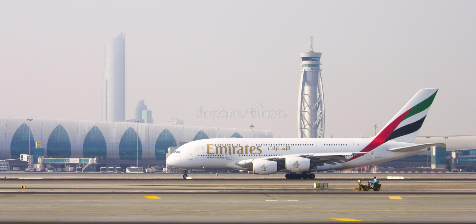 Dubai - October 23: Emirates Airplane at Dubai Airport on October 23, 2018 in Dubai, U.A.E. Dubai airport is home port for Emirate. S Airlines and one of the royalty free stock photo