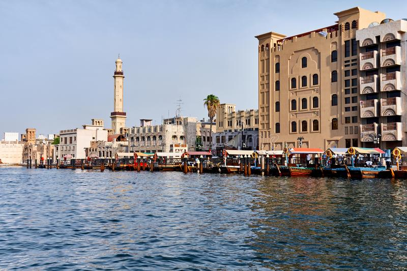Dubai old town. The view of Bur Dubai old town abra dock from the sea stock photos