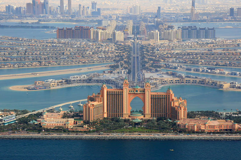 Dubai The Palm Island Atlantis Hotel aerial view photography royalty free stock photos
