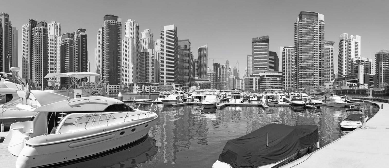 Dubai - The panorama of Marina and yachts stock photo