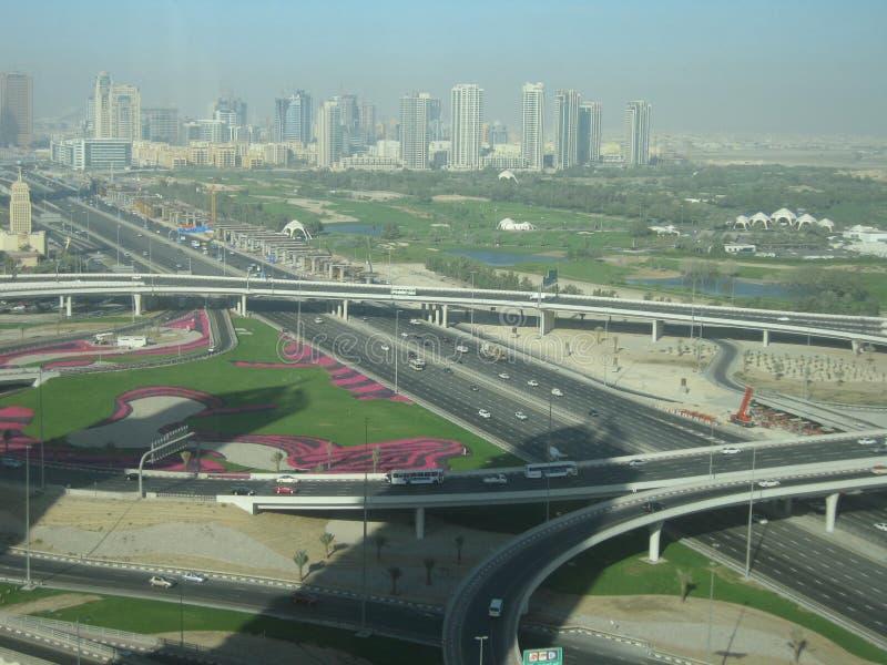 Dubai recidency för säkert liv, skönhet av konst, huvudvägar royaltyfri fotografi
