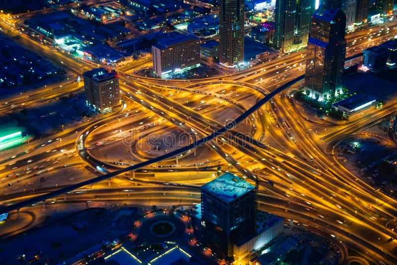 Dubai's crossroads at evening stock photography
