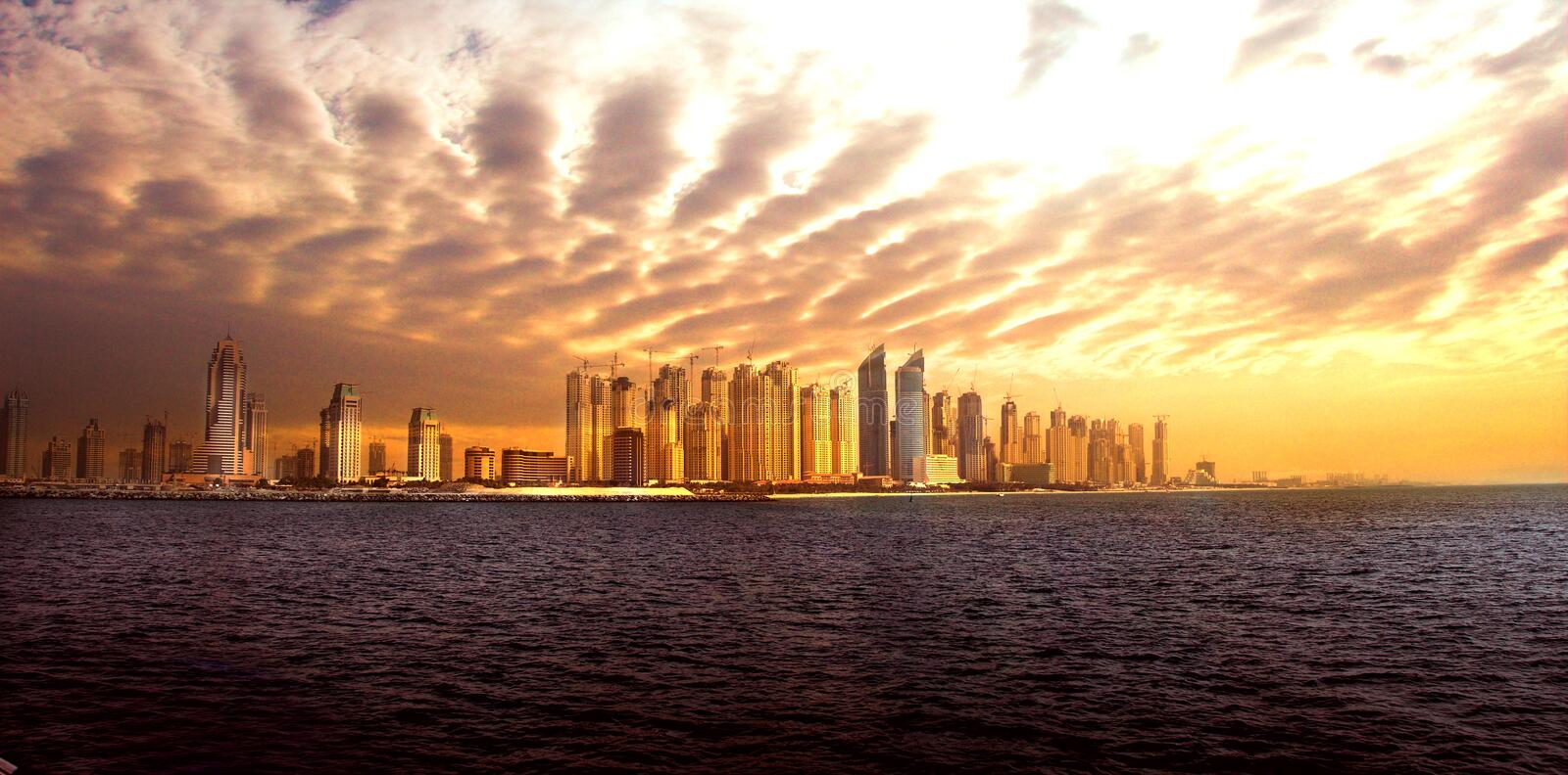 Dubai Skyline. A seaview of the Dubai skyline