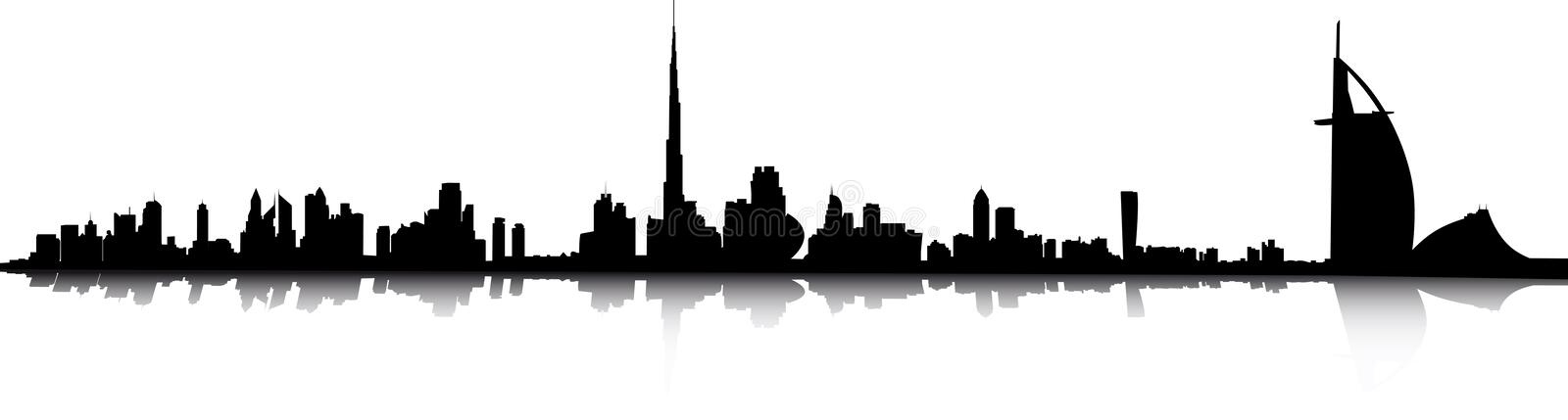 Dubai skyline. Illustration panorama of dubai skyline