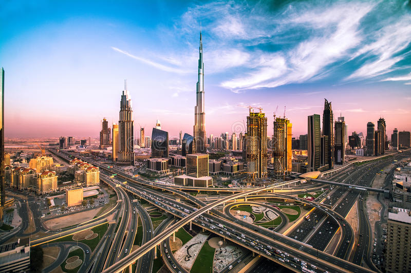 Dubai skyline with beautiful city close to it's busiest highway on traffic. The right side of the highway goes to Abudabi and other side to Sarjah stock images
