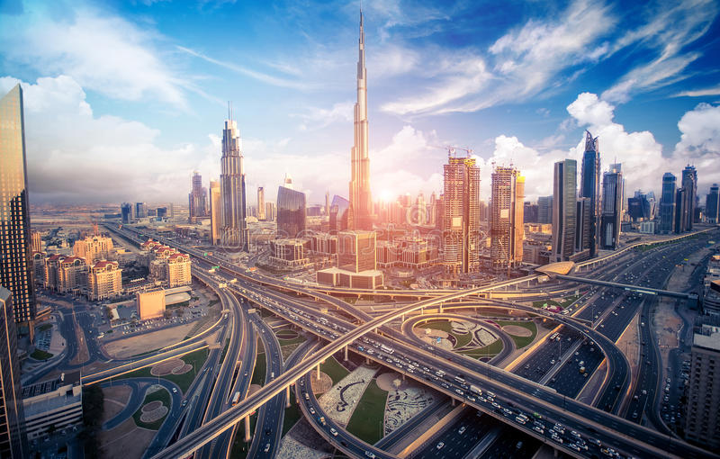 Dubai skyline with beautiful city close to it's busiest highway on traffic. The right side of the highway goes to Abudabi and other side to Sarjah royalty free stock photos