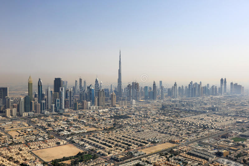 Dubai skyline Burj Khalifa Downtown aerial view photography royalty free stock photography