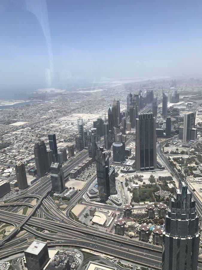 Dubai skyline from burj Khalifa stock images