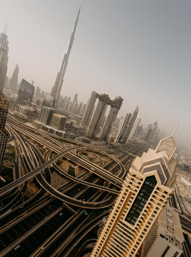 Dubai-Skyline, im Stadtzentrum gelegenes Stadtzentrum stockfoto