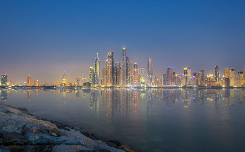 Dubai skyline of the jbr royalty free stock photo