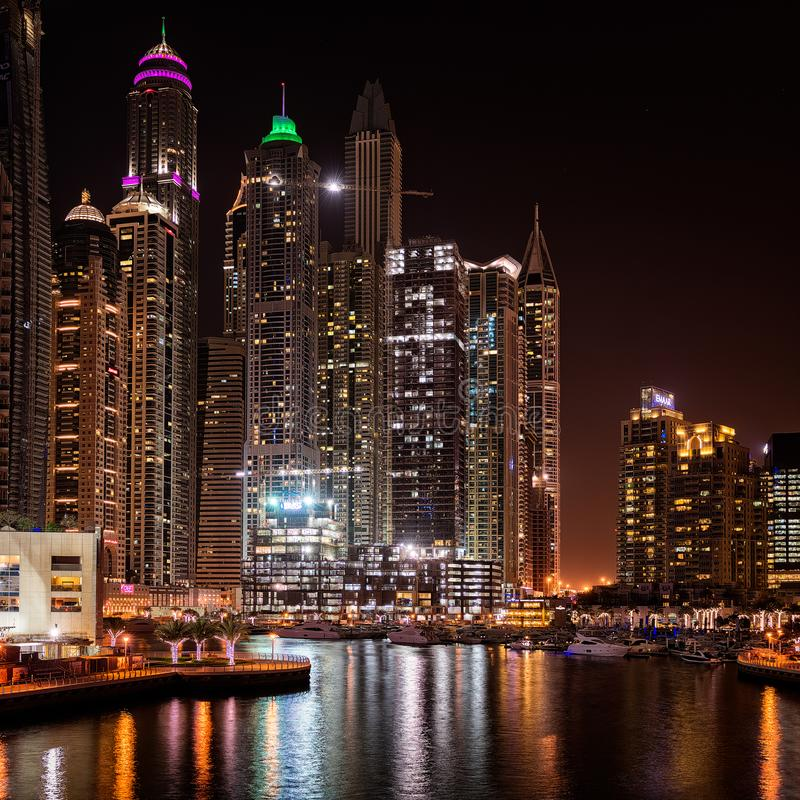 Dubai Skyline in lights 2 royalty free stock photography
