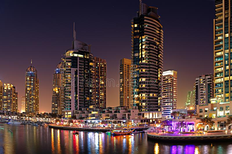 Dubai Skyline in lights royalty free stock photography