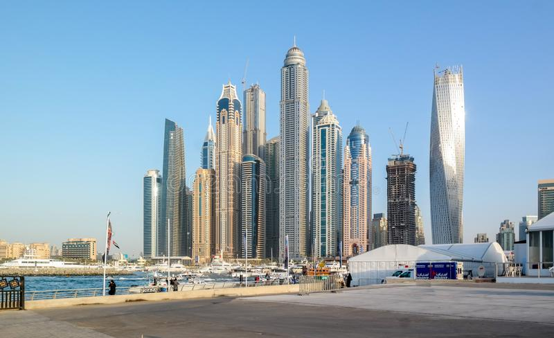 Dubai skyline from Dubai Marina, modern Tourist attractions at UAE stock images
