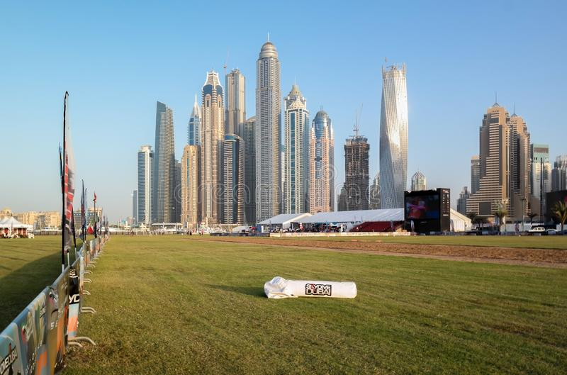 Dubai skyline, Dubai Marina towers and skyscrapers - Skydive Dubai parachuting activity area.  stock photography
