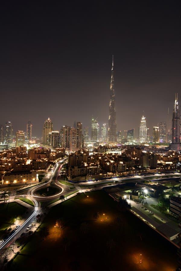 Dubai skyline at night from Business Bay Al Khail road,Dubai,  United Arab Emirates royalty free stock photography