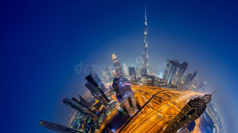 Dubai skyline, downtown city center stock image