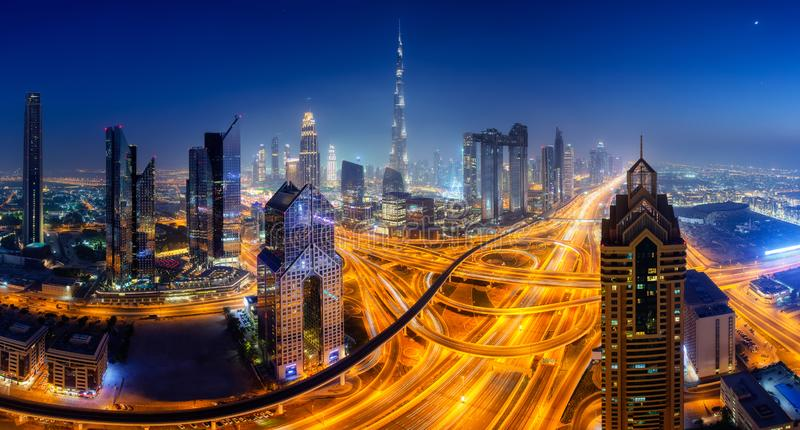 Dubai skyline, downtown city center royalty free stock photo