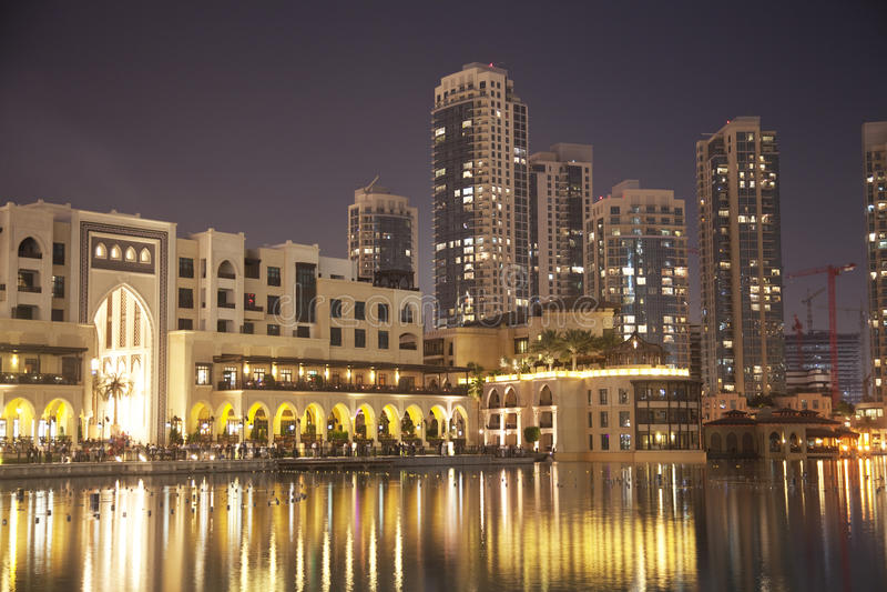 Dubai Skyline At Night, UAE Royalty Free Stock Photos