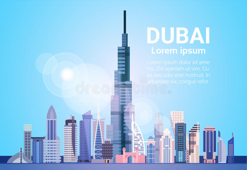 Dubai Skyline Panorama, Modern Building Cityscape Business Travel And Tourism Concept. Flat Vector Illustration royalty free illustration