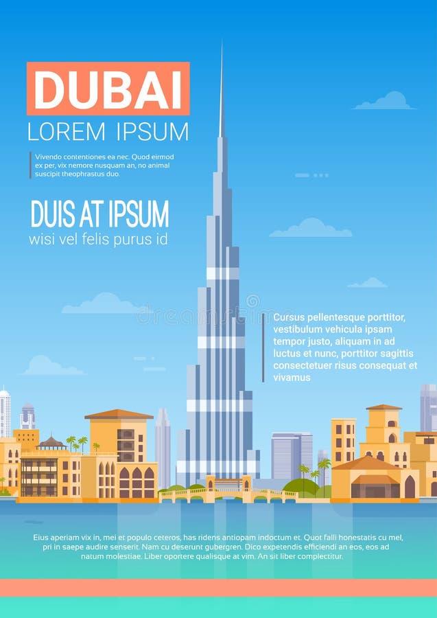 Dubai Skyline Panorama, Modern Building Cityscape Business Travel And Tourism Concept. Flat Vector Illustration stock illustration