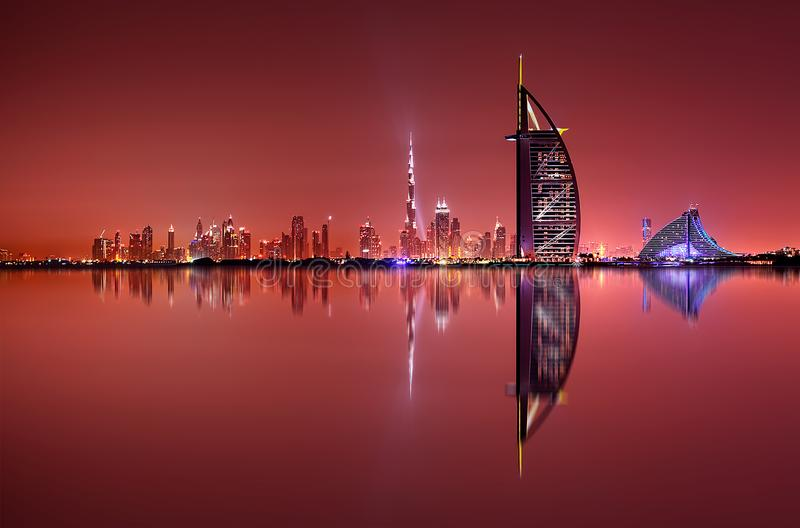 Download Dubai Skyline Reflection At Night, Dubai, United Arab Emirates Stock Image - Image of luxury, cityscape: 99493961