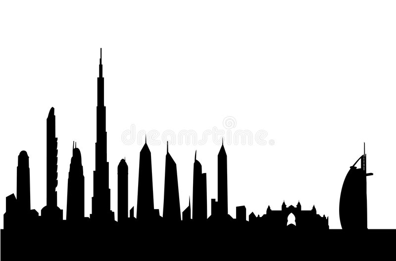 Dubai skyline silhouette vector. Vectored illustration of dubai with tallest skyscrapers, almost all the most high rise buildings from now until 2011, with the
