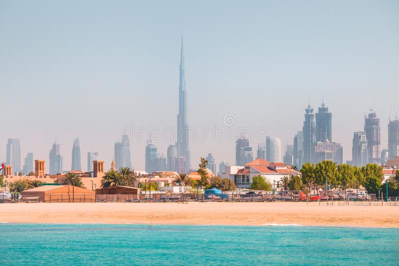 Dubai sunny skyline royalty free stock photography