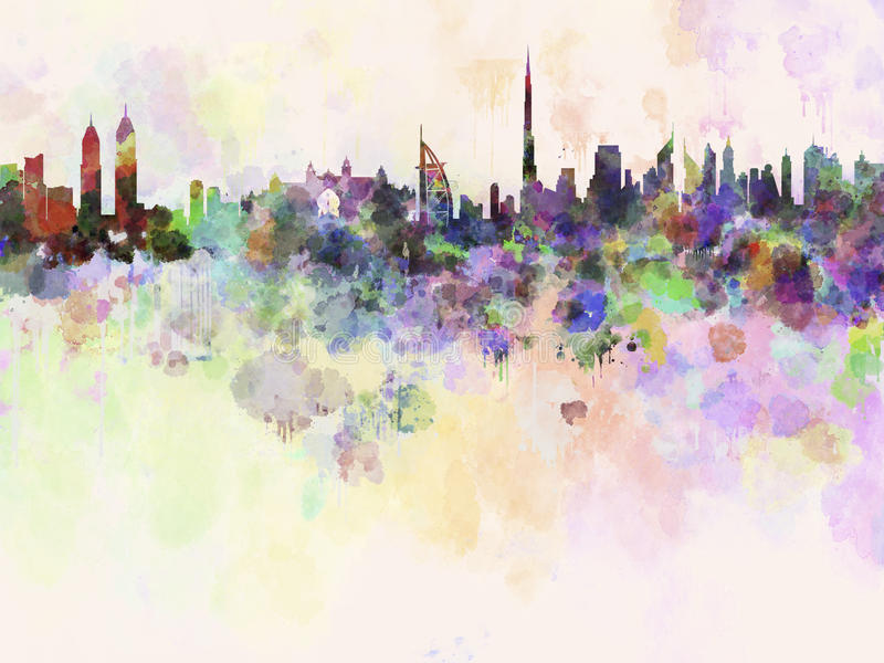 Dubai skyline in watercolor background stock illustration