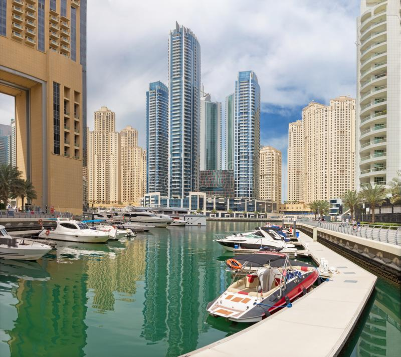 Dubai - The skyscrapers and hotels of Marina and the promenade royalty free stock photo