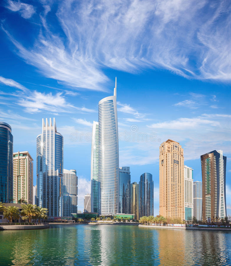 Dubai - The skyscrapers of Jumeirah lake towers with the Almas tower royalty free stock images