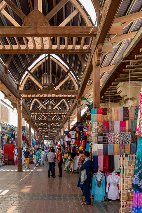 Dubai Souk. Souk is a traditional market in Dubai, United Arab Emirates. The souk is located in the heart of Dubais commercial business district in Deira, in the royalty free stock photos