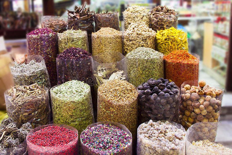 Dubai Spice Souk. Dried herbs flowers spices in the spice souk in Dubai royalty free stock photo