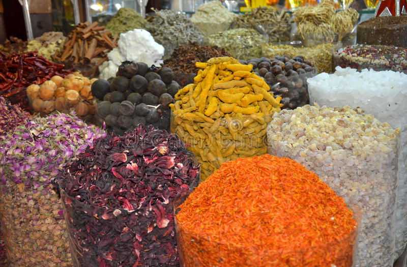 Dubai Spice Souk. Or the Old Souk in Dubai royalty free stock image