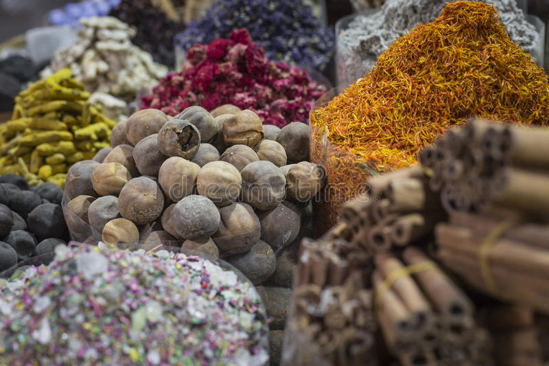 Dubai Spice Souk or the Old Souk is a traditional market in Dubai, United Arab Emirates (UAE), selling a variety of fragrances. Dubai Spice Souk or the Old Souk royalty free stock photo