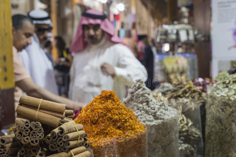Dubai Spice Souk or the Old Souk is a traditional market in Dubai, United Arab Emirates (UAE), selling a variety of fragrances. Dubai Spice Souk or the Old Souk stock photography