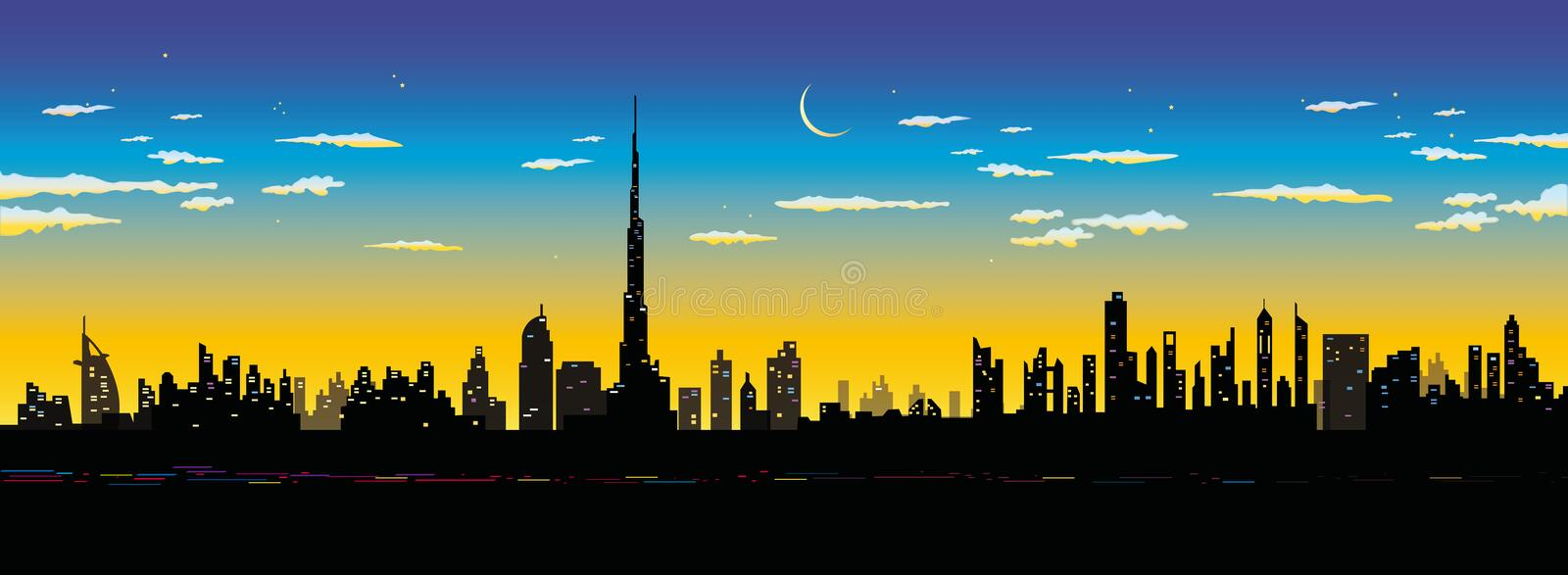 Dubai stad stock illustrationer