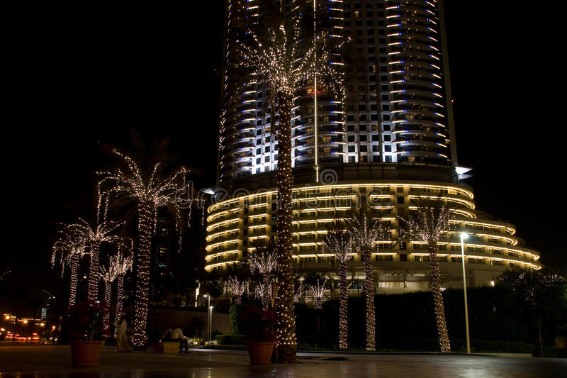 Download Dubai street at night stock photo. Image of palm, street - 11755352