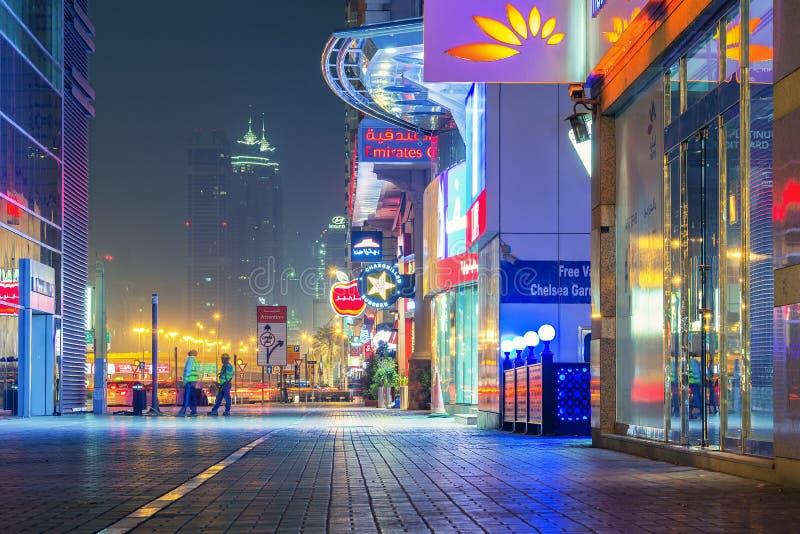 Dubai street by night. royalty free stock photo