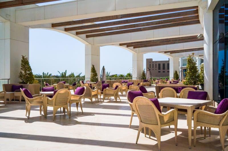 Dubai. Summer 2016. Bright and modern interior the hotel Waldorf Astoria Dubai Palm Jumeirah. stock photography