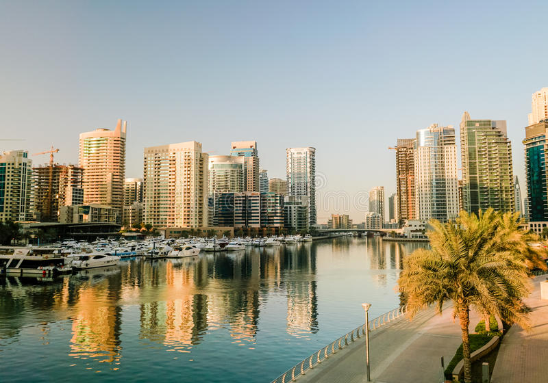 Dubai. In the summer of 2016. Construction of modern skyscrapers in Dubai Marina on the shore of the Arabian Gulf. royalty free stock image