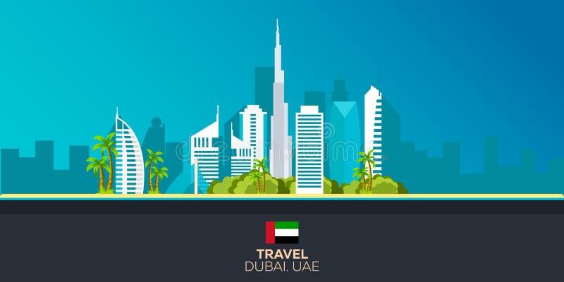 dubai tourism Cidade de viagem de Dubai da ilustração Projeto liso moderno Primeiras vistas da parte superior do Burj Khalifa UAE ilustração stock