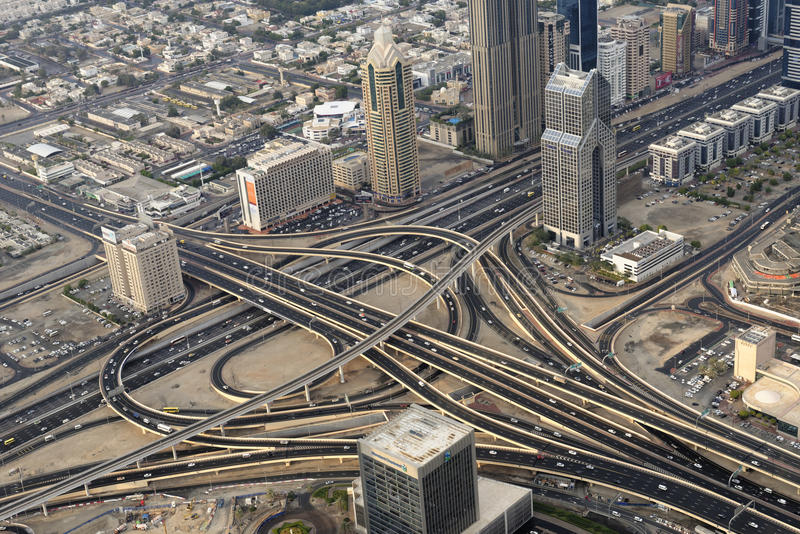 Dubai traffic. An overview of the highways and the traffic in Dubai, UAE stock image