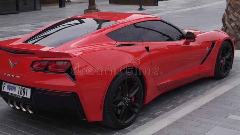 Chevrolet Corvette sports car in the new beach and entertainment space La Mer royalty free stock images