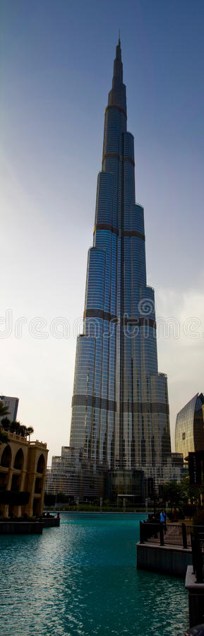 Dubai, UAE - April 16, 2012: A vertical shot of the popular Burj Khalifa building during the day royalty free stock images