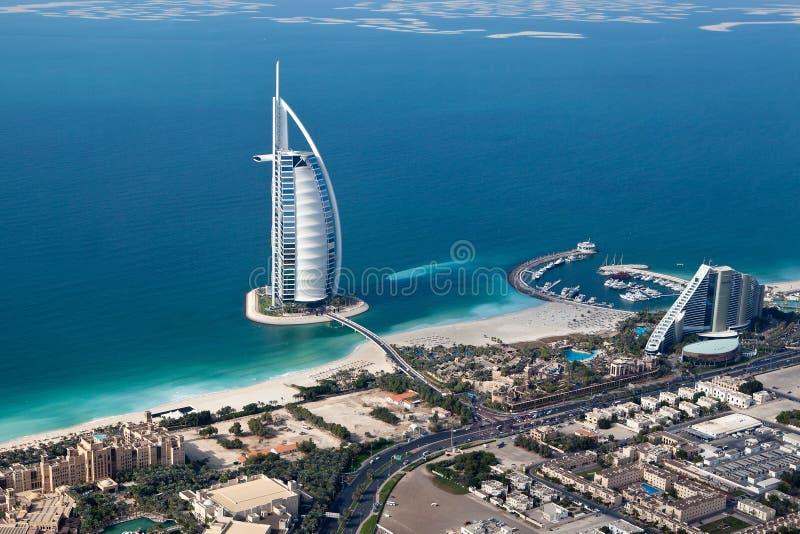 Dubai, UAE. Burj Al Arab from above royalty free stock image